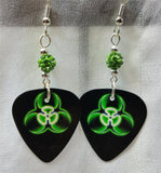 Green and Black Toxic Guitar Pick Earrings with Green Pave Beads