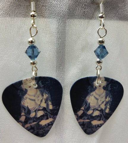 Buddhist Artwork Guitar Pick Earrings with Blue Swarovski Crystals