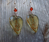 Transparent Scrolling Guitar Graphic Guitar Pick Earrings with Indian Red Crystals