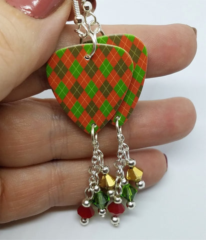 Christmas Red and Green Argyle Guitar Pick with Swarovski Crystal Dangles