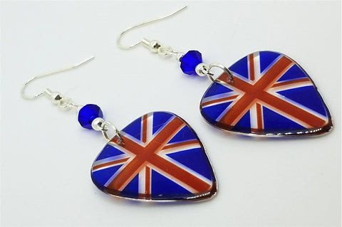 Transparent British Flag Guitar Pick Earrings with Blue Swarovski Crystals