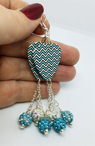 Aqua Blue Chevron Guitar Pick Earrings with Pave Bead Dangles