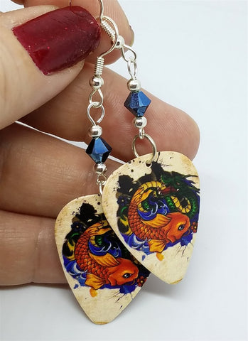 Koi Fish and Dragon Guitar Pick Earrings with Metallic Blue Swarovski Crystals