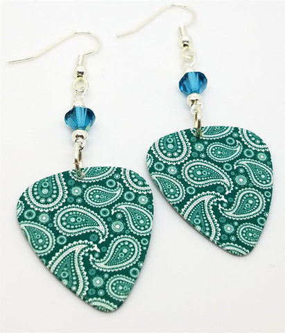 Teal Paisley Guitar Pick Earrings with Swarovski Crystals