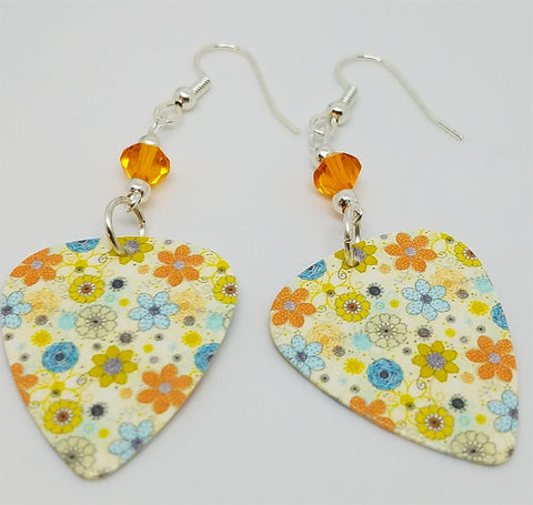 Multicolored Flower Guitar Pick Earrings with Orange Swarovski Crystals