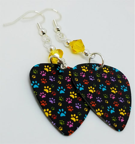 Colorful Paw Print Guitar Pick Earrings with Yellow Swarovski Crystals