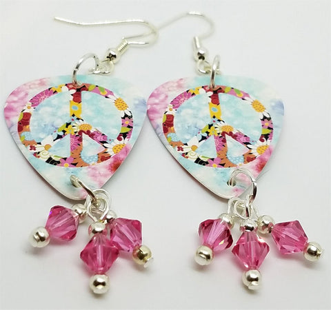 Floral Peace Sign Guitar Pick Earrings with Pink Swarovski Crystal Dangles