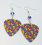 Brightly Colored Dots Guitar Pick Earrings with Purple Swarovski Crystals