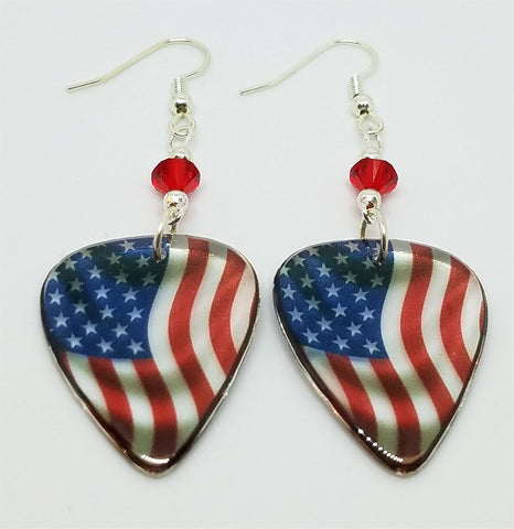 Transparent American Flag Guitar Pick Earrings with Red Swarovski Crystals