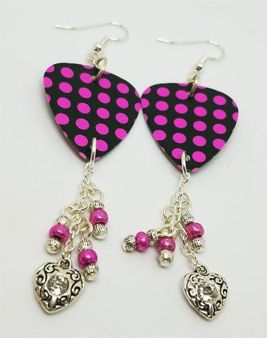 Black with Hot Pink Polka Dotted Guitar Pick Earrings with Glass Bead and Crystal Charm Dangles
