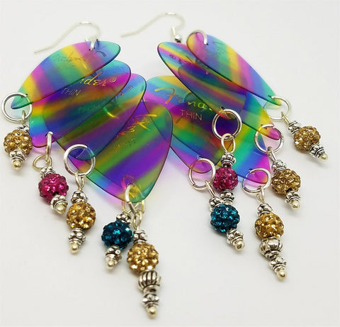 Rainbow Stripes Cascading Guitar Pick Earrings with Pave Bead Dangles