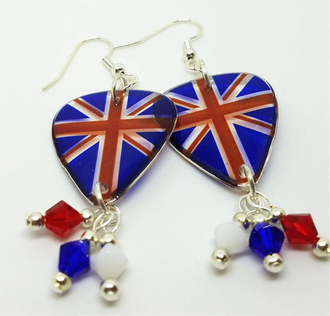 Transparent British Flag Guitar Pick Earrings with Swarovski Crystal Dangles