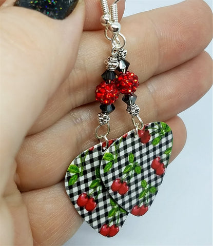 Black and White Gingham and Cherries with Guitar Pick Earrings with Red Pave Beads