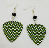 Green, White and Black Chevron Guitar Pick Earrings with Black Swarovski Crystals