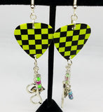 Black and Neon Green Checkered Guitar Pick Earrings with Silver Charm and Glass Bead Dangles