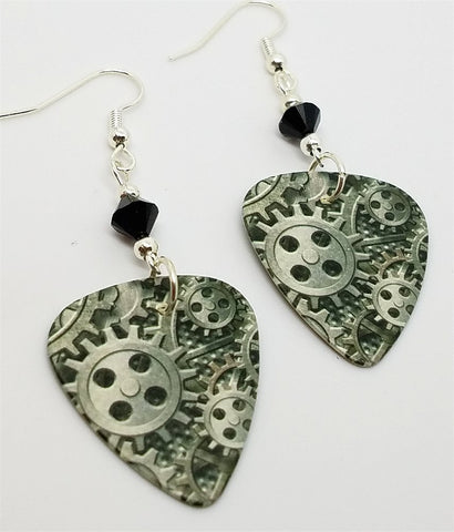 Steampunk Gears Guitar Pick Earrings with Black Swarovski Crystals