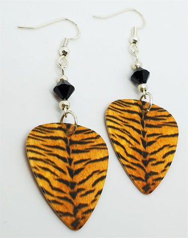 Tiger Pattern Guitar Pick Earrings with Black Swarovski Crystals