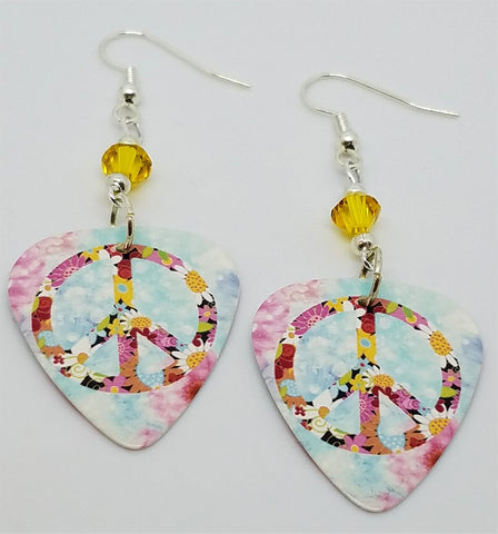 Floral Peace Sign Guitar Pick Earrings with Yellow Swarovski Crystals