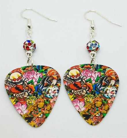 Tattoo Art Guitar Pick Earrings with MultiColor Pave Beads