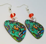 Colorful Funky Psychedelic Abstract Face Guitar Pick Earrings with Orange Swarovski Crystals