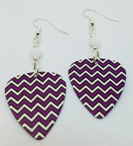 Purple, White and Black Chevron Guitar Pick Earrings with White Swarovski Crystals