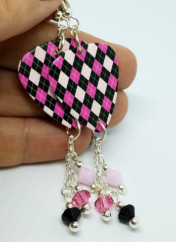 Pink and Black Argyle Guitar Pick with Swarovski Crystal Dangles