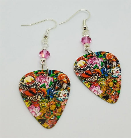 Tattoo Art Guitar Pick Earrings with Pink Swarovski Crystals
