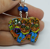 Colorful Funky Psychedelic Abstract Faces Guitar Guitar Pick Earrings with Capri Blue Pave Beads
