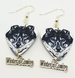 Black and White Wolf Guitar Pick Earrings with Winter is Coming Charm Dangles