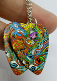 Colorful Funky Psychedelic Abstract Dangling Guitar Pick Earrings