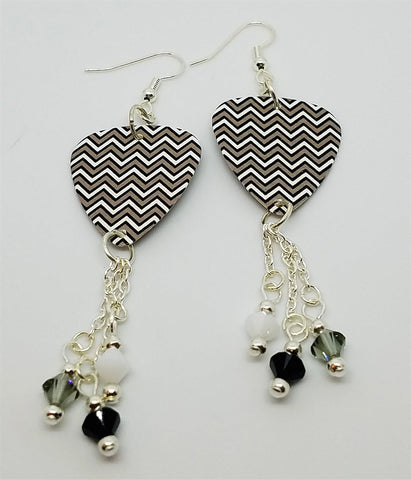 Gray, White and Black Chevron Guitar Pick Earrings with Swarovski Crystal Dangles