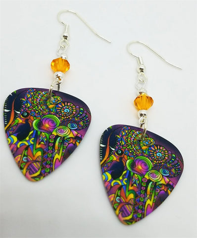 Colorful Funky Psychedelic Abstract Guitar Pick Earrings with Orange Swarovski Crystals