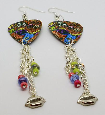 Colorful Funky Psychedelic Abstract Faces Guitar Guitar Pick Earrings with Dangles