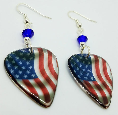 Transparent American Flag Guitar Pick Earrings with Blue Swarovski Crystals