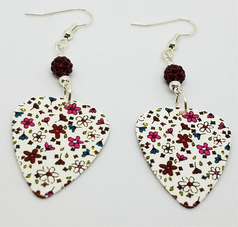 Flower Doodles Guitar Pick Earrings with Red Pave Beads
