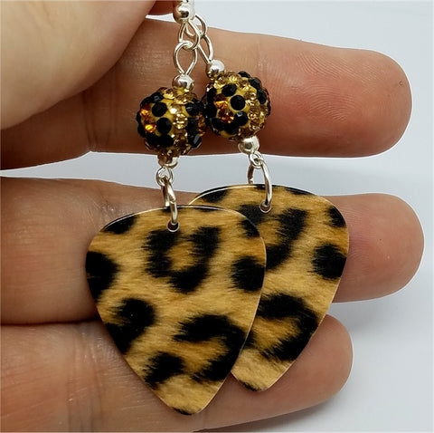 Leopard Print Guitar Pick Earrings with Leopard Print Pave Beads