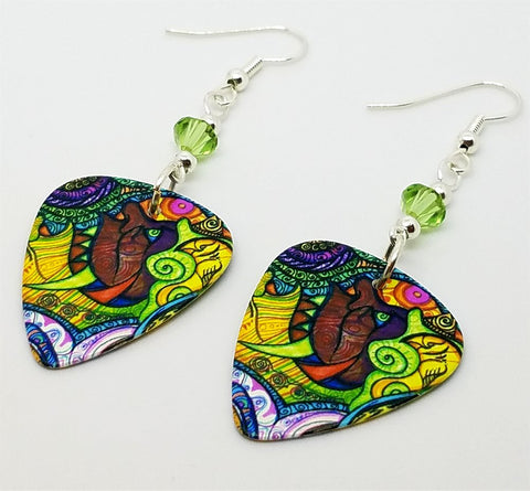 Colorful Funky Art Face Guitar Pick Earrings with Green Swarovski Crystals