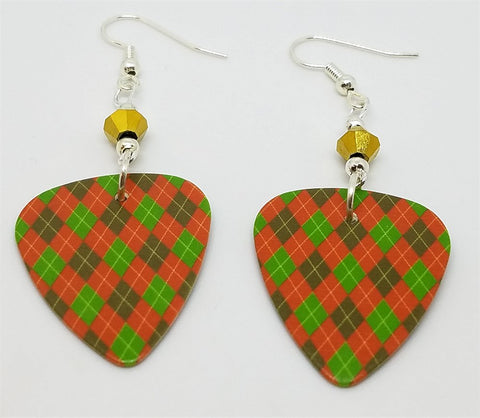 Christmas Red and Green Argyle Guitar Pick with Gold Swarovski Crystals