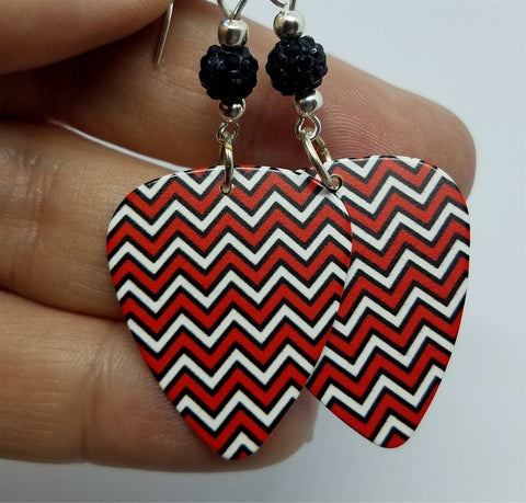 Red and Black Chevron Guitar Pick with Black Pave Beads