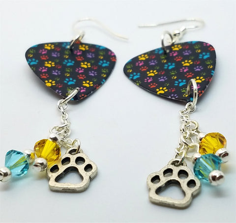 Colorful Paw Print Guitar Pick Earrings with Charm and Swarovski Crystal Dangles