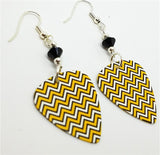 Yellow, White and Black Chevron Guitar Pick Earrings with Black Swarovski Crystals