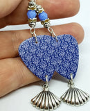 Blue and White Damask Guitar Pick Earrings with Silver Shell Charm Dangles