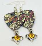 Flower and Paisley Print Guitar Pick Earrings with Orange Crystal Charm Dangles