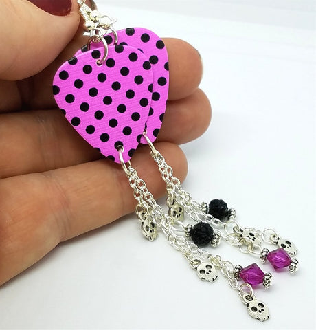 Pink with Black Polka Dots Guitar Pick with Swarovski Crystal, Pave, and Silver Charm Dangles
