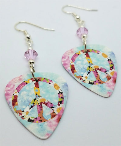 Floral Peace Sign Guitar Pick Earrings with Pink Swarovski Crystals