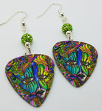 Colorful Funky Psychedelic Abstract Masked Face Guitar Pick Earrings with Green Pave Beads