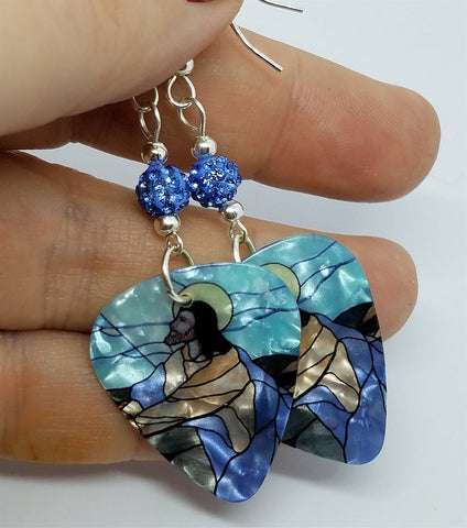 Jesus Praying in the Garden of Gethsemane Guitar Pick Earrings with Blue Pave Beads