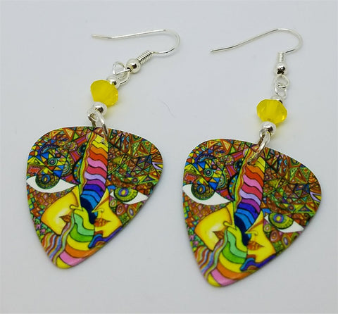 Colorful Funky Psychedelic Abstract Faces Guitar Pick Earrings with Yellow Opal Swarovski Crystals