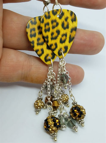 Leopard Print Guitar Pick Earrings with Sparkling Dangles