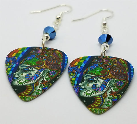 Colorful Funky Psychedelic Abstract Woman Guitar Pick Earrings with Metallic Blue Swarovski Crystals